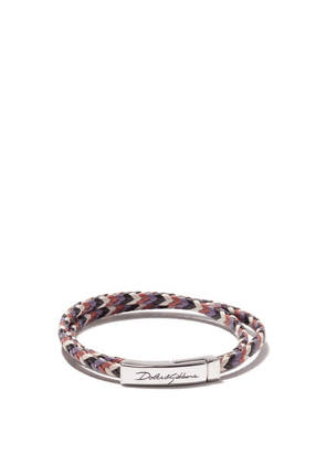 Dolce & Gabbana - Logo-engraved Woven-leather Bracelet - Mens - Multi