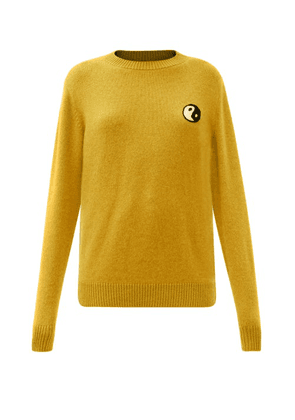 The Elder Statesman - Yin And Yang-embroidered Cashmere Sweater - Womens - Yellow
