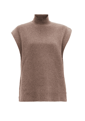Ganni - Cap-sleeve Ribbed Recycled Wool-blend Sweater - Womens - Brown