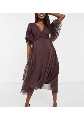 ASOS DESIGN Maternity flutter sleeve midi dress with pleated waist and button detail-Navy
