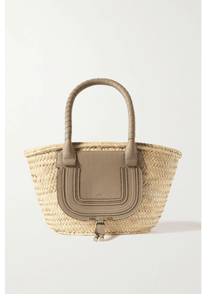 Chloé - Marcie Textured Leather-trimmed Raffia Tote - Green