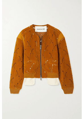 Andersson Bell - Kaila Laser-cut Embossed Faux Suede Bomber Jacket - Camel