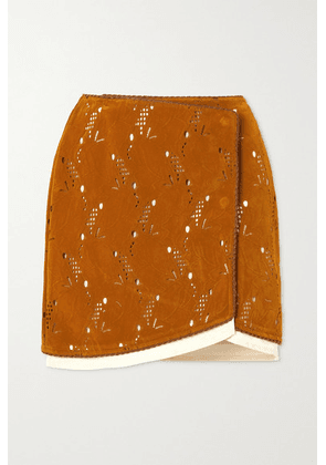 Andersson Bell - Kaila Laser-cut Embossed Faux Suede Wrap Mini Skirt - Brown