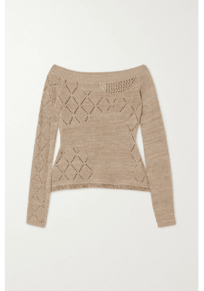 Andersson Bell - Matmata Off-the-shoulder Pointelle-knit Linen And Cotton-blend Sweater - Tan