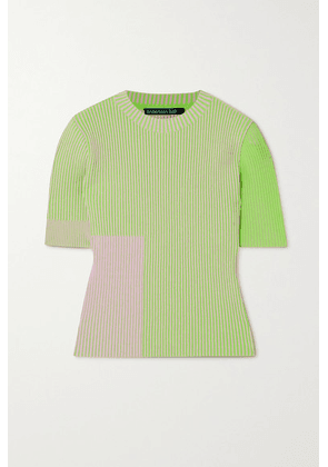 Andersson Bell - Janis Two-tone Ribbed-knit Top - Green