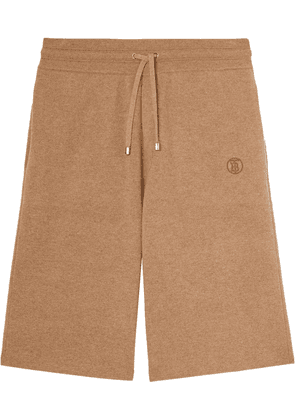 Burberry logo-embroidered cashmere shorts - Brown