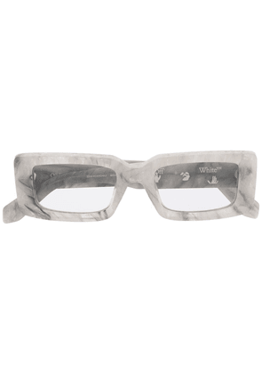Off-White Arthur marble-effect rectagular sunglasses - Grey