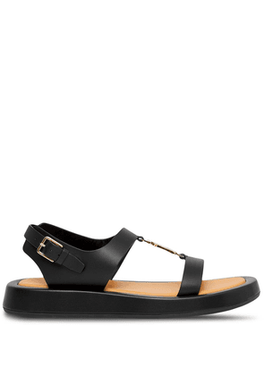 Burberry logo-plaque leather sandals - Black