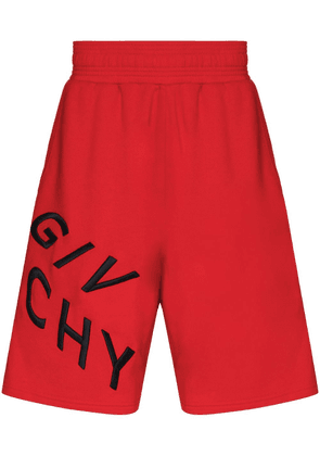 Givenchy Refracted-logo cotton track shorts - Red