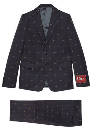 Gucci GG embroidered single-breasted suit - Blue