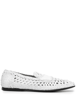 Dolce & Gabbana woven-effect slip-on loafers - White