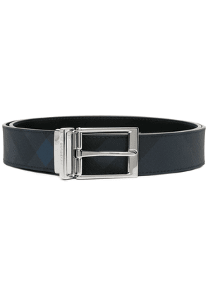 Burberry check-pattern leather belt - Blue