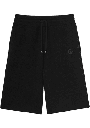 Burberry logo-embroidered cashmere shorts - Black