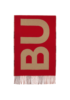 Burberry Beige and Red Cashmere Mega Check Logo Scarf