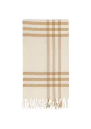 Burberry Off-White and Beige Cashmere Giant Check Scarf