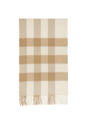 Burberry Beige and Pink Cashmere Mega Check Scarf