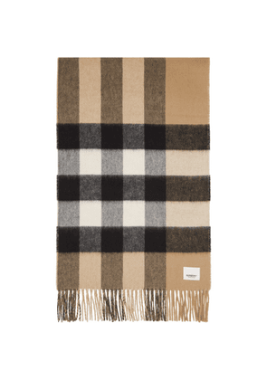 Burberry Beige Cashmere Check and Monogram Scarf