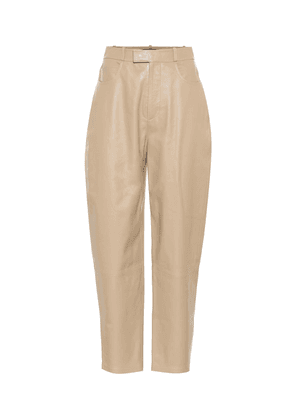 High-rise leather carrot pants
