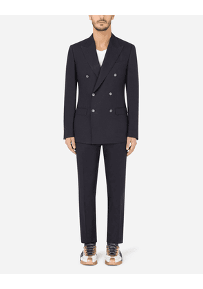 Dolce & Gabbana Suits - Double-breasted linen Taormina-fit suit BLUE male 44