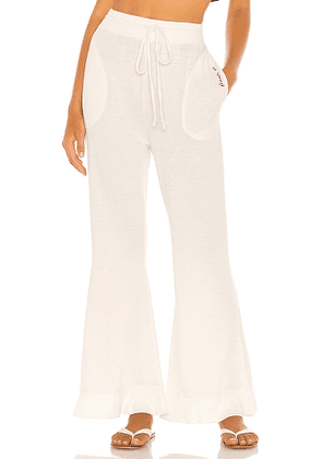 Free People Cozy Cool Lounge Pant in Ivory. Size S.