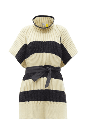 2 Moncler 1952 - Ciclista Striped Ribbed Cotton-blend Sweater - Womens - Cream Multi