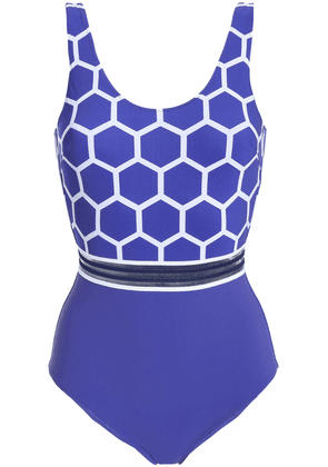 Emma Pake Coco Mesh-trimmed Printed Swimsuit Woman Royal blue Size XS