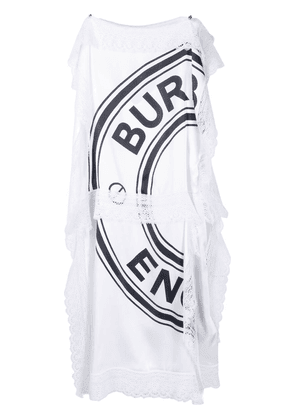 Burberry lace trim logo dress - White
