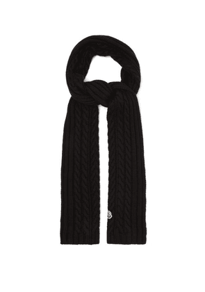 Moncler - Cable-knitted Wool Scarf - Womens - Black