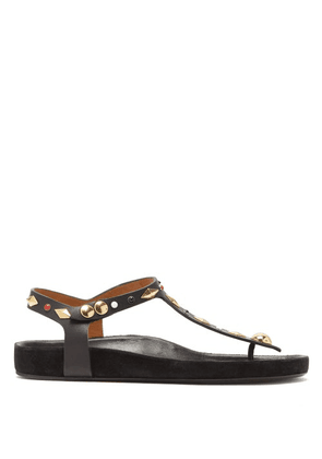 Isabel Marant - Enore Studded Flat Leather Sandals - Womens - Black