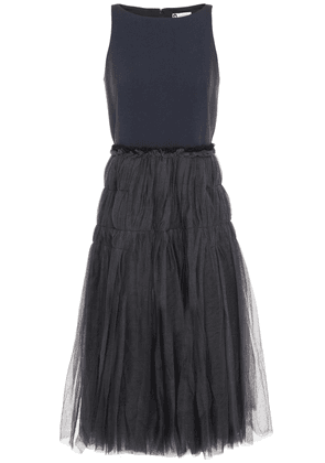 Lanvin Jersey-paneled Tiered Tulle Midi Dress Woman Anthracite Size 38