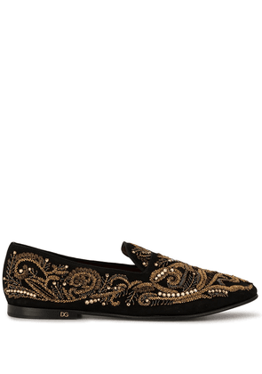 Dolce & Gabbana bead embroidered slippers - Gold