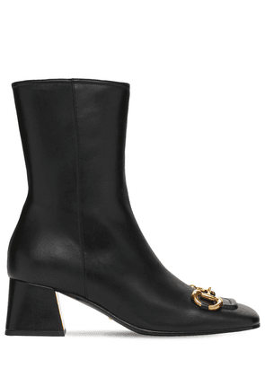 55mm Leather Ankle Boots W/ Horsebit