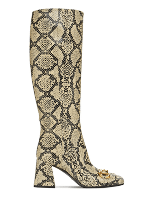 75mm Python Print Leather Tall Boots