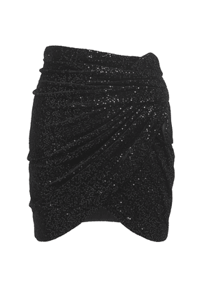 Sequins Draped Velvet Micro Mini Skirt