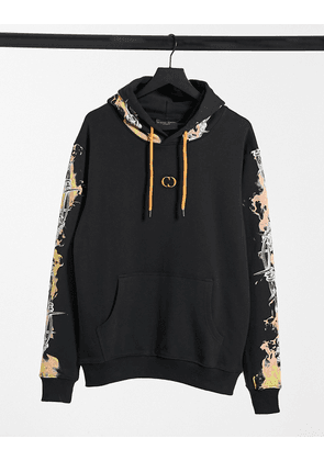 Criminal Damage hoodie with barb wire flame print in black