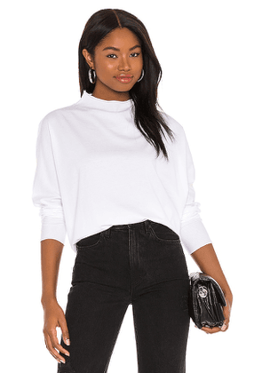 Frank & Eileen Long Sleeve Funnel Neck Tee in White. Size XS, M, L.