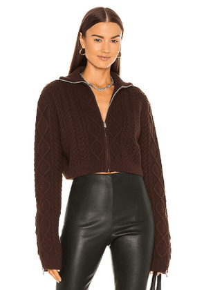 DANIELLE GUIZIO Cable Knit Cropped Sweater in Chocolate. Size M.
