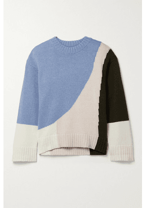 APIECE APART - Shasta Color-block Organic Cotton And Cashmere-blend Sweater - Blue
