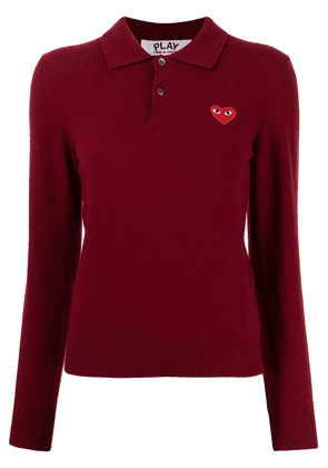Comme Des Garçons Play heart-patch polo sweater - Red
