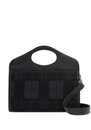 Burberry embroidered check canvas Pocket tote - Black