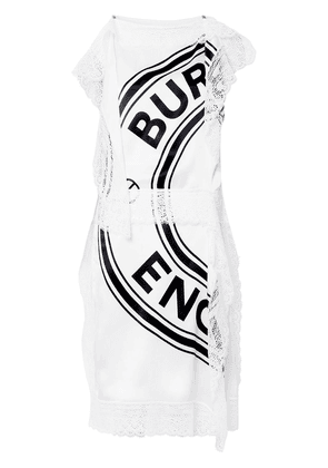 Burberry lace-detail logo midi-dress - White