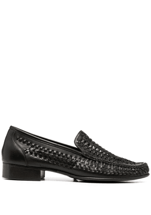 Saint Laurent woven-detail loafers - Black
