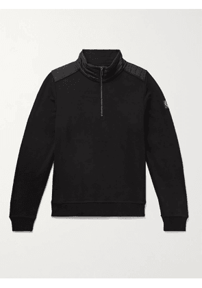 BELSTAFF - Jaxon Quilted Shell-Panelled Loopback Cotton-Jersey Half-Zip Sweatshirt - Men - Black - S