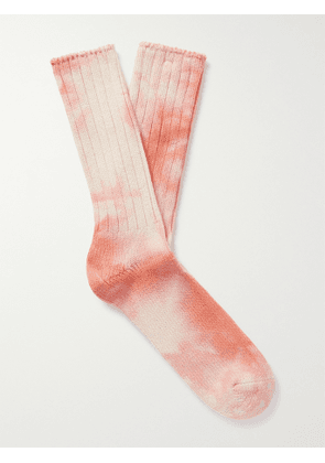 ANONYMOUS ISM - Tie-Dyed Cotton-Blend Socks - Men - Orange