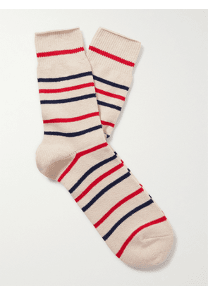 ANONYMOUS ISM - Striped Cotton-Blend Socks - Men - Red