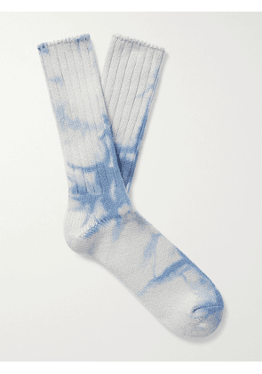 ANONYMOUS ISM - Tie-Dyed Cotton-Blend Socks - Men - Blue