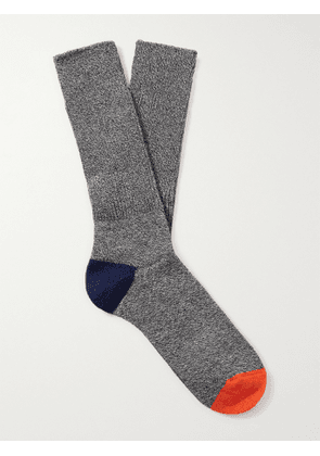 ANONYMOUS ISM - Contrast-Tipped Cotton-Blend Socks - Men - Black