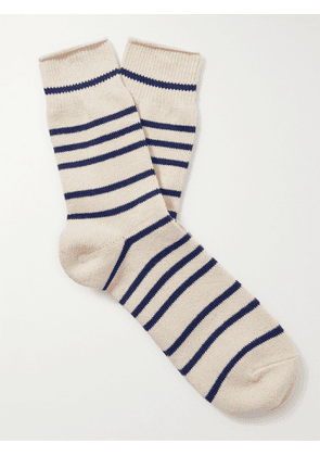 ANONYMOUS ISM - Striped Cotton-Blend Socks - Men - Blue