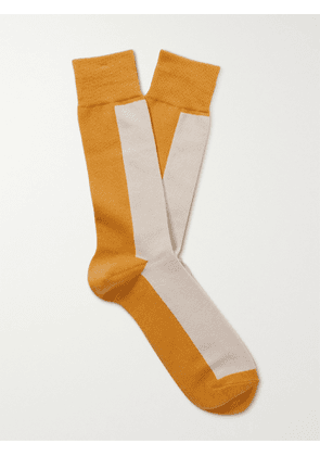 ANONYMOUS ISM - Colour-Block Cotton-Blend Socks - Men - Yellow