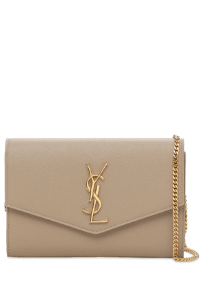 Uptown Grained Leather Chain Wallet